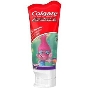 仅$1.99收75mlColgate 高露洁 宝宝抗龋齿牙膏 低泡沫 易清洁