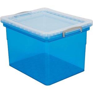 多色可选 办公室收纳必备Staples 塑料整理箱34 升 蓝色