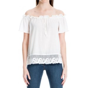 Max StudioOff-the-Shoulder Lace-Hem Top