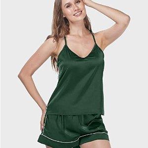 $9.99(原价$21.99)Menore 缎面睡衣两件套 巨显白墨绿 S、L码 白菜价必囤