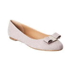 Salvatore FerragamoVara 粉色银闪平底鞋