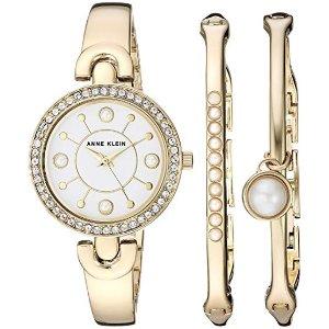 1604bca04e23 Anne KleinWomen s AK 3288GBST Swarovski Crystal Accented Gold-Tone Watch  and Bangle Set