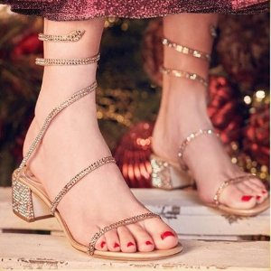 无门槛5折 £347收施华洛世奇水晶凉鞋RENÉ CAOVILLA 仙女水晶鞋热促 走路带闪神仙下凡