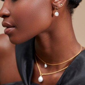 低至£20上新:Monica Vinader Nura系列 珍珠项链、耳饰 秋季复古配饰