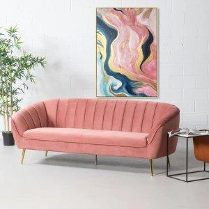 粉色天鹅绒沙发