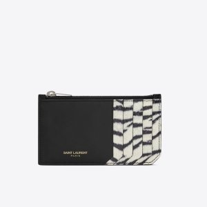 fragments zippered pouch in black leather and black and white tiger print elaphe