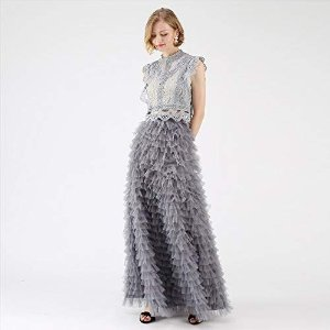 40b64e9591 ChicwishWomen's Grey/Mint Dots/Purple/Rouge Pink Tiered Layered Mesh Ballet  Prom Party