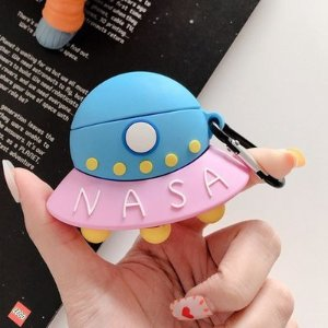 UFOSHOPFIVE Soft Silicone UFO Case with Bag Hook Clip Keychain for Apple Airpods 1 2 Wireless Earbuds 3D Cartoon Kawaii Funny Fun Cool
