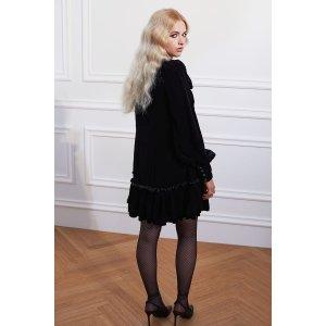 H&M黑色丝绒蝴蝶结裙