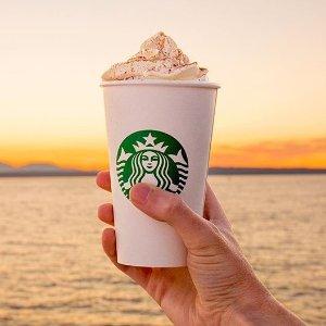 仅限10月19日下午2点后限今天:Starbucks 星巴克 下午两点后指定饮品买一送一