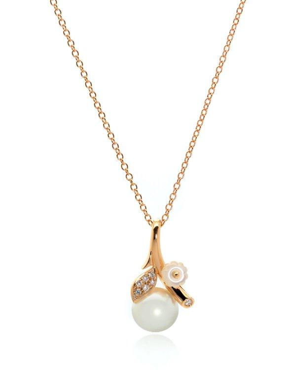 18K玫瑰金钻石珍珠项链