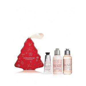 L'Occitane护手霜10ml+沐浴&身体乳各35ml圣诞限定 樱花护肤3件套
