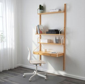 SVALNÄS Wall-mounted workspace combination, bamboo