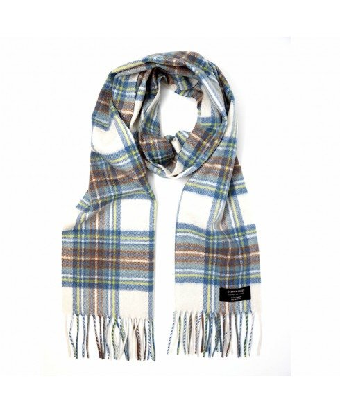 蓝色格纹羊绒围巾