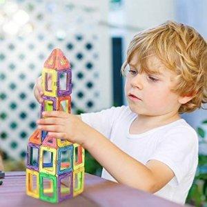 Manve 40 Pcs Magnet Building Tiles Clear Magnetic 3D Building Blocks Construction Playboards @ Amazon