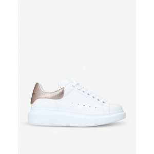 Alexander McQueen官网售价$490香槟尾小白鞋