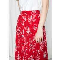 & Other Stories Pleated Skirt - Red Floral - Midi skirts - & Other Stories US