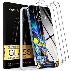 $2.99包邮收3张 送贴膜神器白菜价:Elando iPhone 12 / 12 Pro 通用钢化屏幕保护贴膜