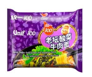 UNIF 100 Instant Noodle Artificial Beef with Sauerkraut Flavor
