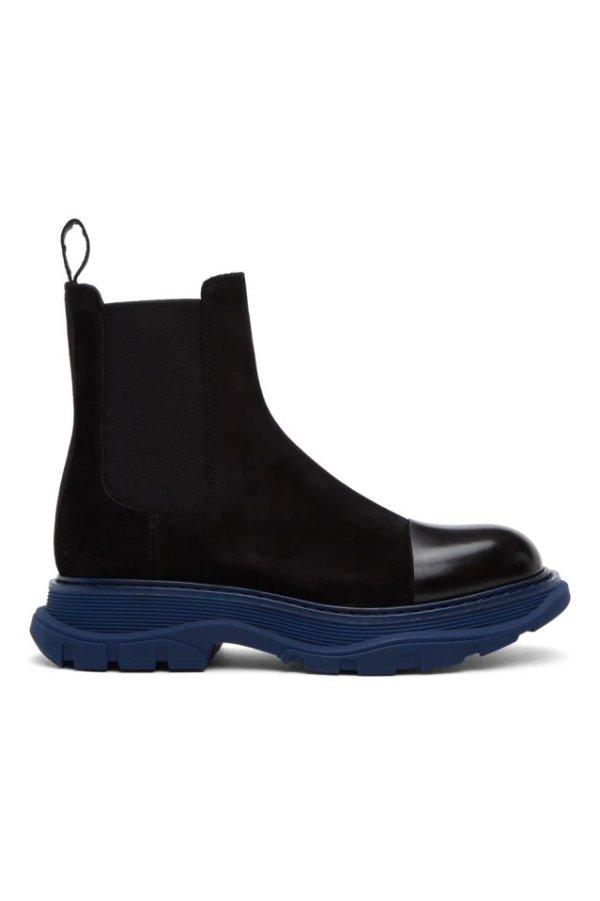SSENSE Exclusive 男士蓝黑厚底短靴