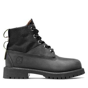 Timberland6英寸拼接登山靴黑色 大童款