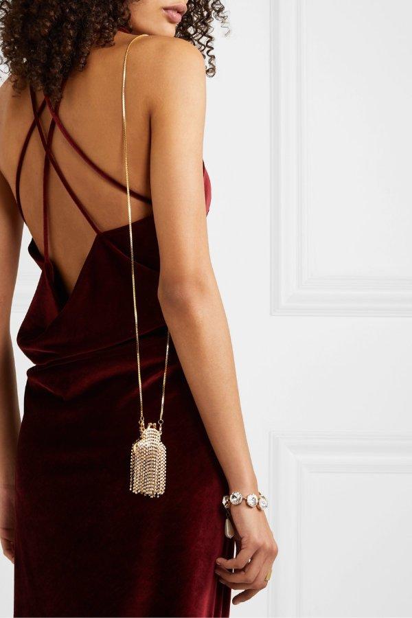 Orfea mini fringed 水晶装饰链条包
