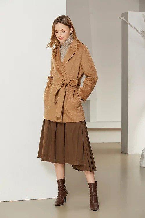 经典驼色短款双面羊毛大衣