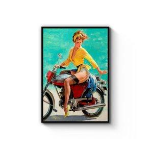 Vintage Pin-Up Girl On Vespa无框