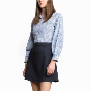 Pixie MarketAndy Striped Button Sleeve连衣裙