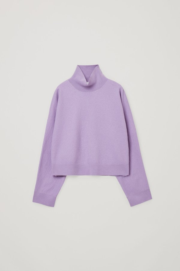 香芋紫高领毛衣