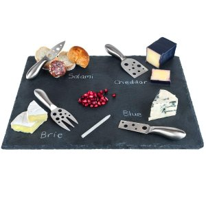 Large Slate Cheese Board and Stainless Steel Cutlery Set 12