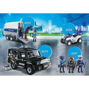 Playmobil骑警 警车 摩托 防暴队城市警察4件套装