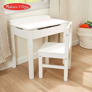 $64.28(原价$99.99)史低价:Melissa & Doug  儿童木质桌椅套装,白色