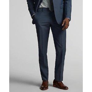 ExpressSlim Blue Performance Stretch Wool-blend Suit Pant