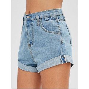 High Waisted Denim Cuffed Shorts DENIM BLUE