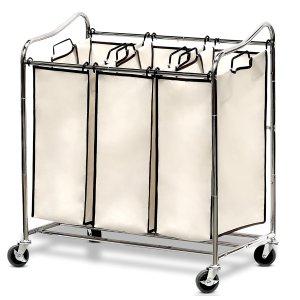Simple Houseware Heavy-Duty 3-Bag Laundry Sorter Cart