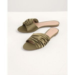 Ruched Satin Sliders
