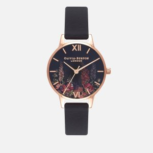 Olivia Burton黑金印花腕表