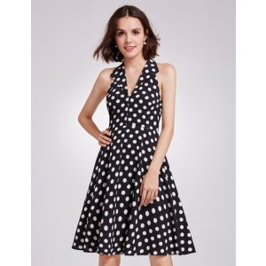 Ever-PrettyAlisa Pan V Neck Polka Dot Fit and Flare Dress