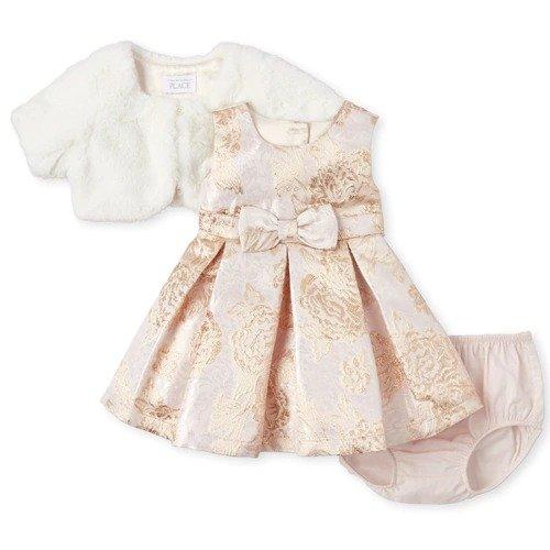 女婴带披肩礼服裙套装