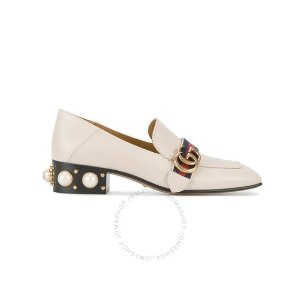 Gucci$50 off $1000Ladies White Leather Mid-heel Loafers
