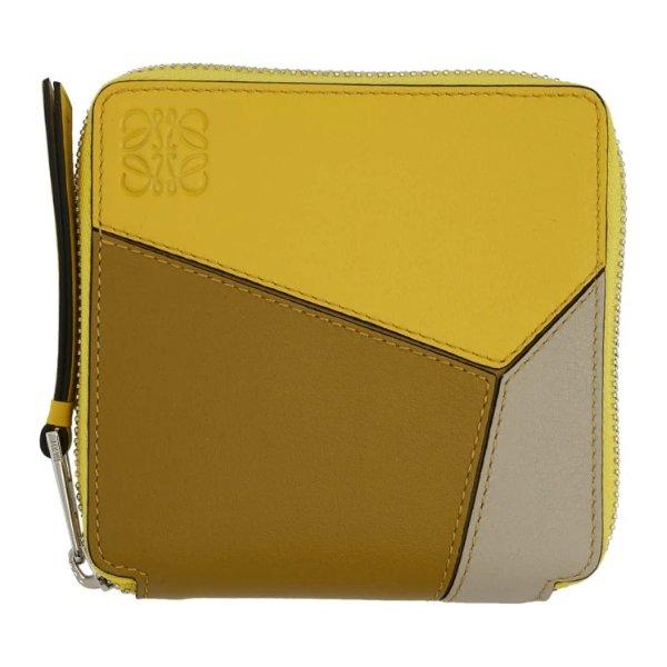 黄色Puzzle方形拉链钱包