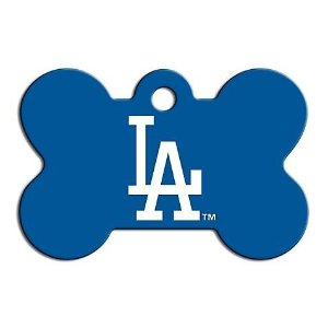 Quick-Tag Los Angeles Dodgers MLB Bone Personalized Engraved Pet ID Tag, Large | Petco