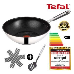 6.6折特价 现价€46.37包邮Tefal E89704 Jamie Oliver大厨系列 28厘米炒锅送铲子+护锅垫