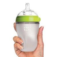 Comotomo 防胀气硅胶奶瓶8盎司,1个,绿色