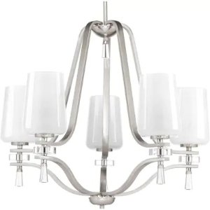 Progress LightingIndulge 5-Light Brushed Nickel Transitional Shaded Chandelier