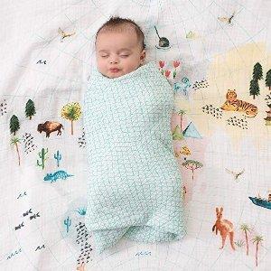 低至8折aden + anais 多款儿童经典纱布巾、盖毯、围兜等促销