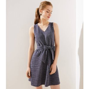 LOFTTextured Stripe Tie Waist Flare Dress | LOFT