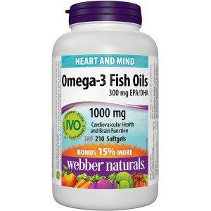 $9.48 (原价$11.47)  加量210粒Webber Naturals Omega-3 1000 mg 鱼油 提高免疫力