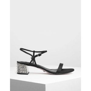 Charles & KeithBlack Faceted Lucite Heel Satin Sandals | CHARLES & KEITH US